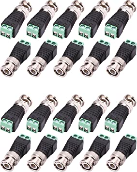 10-Pack Surveillance Camera Cables Screw Terminal Coaxial Cat5 To BNC Male Video