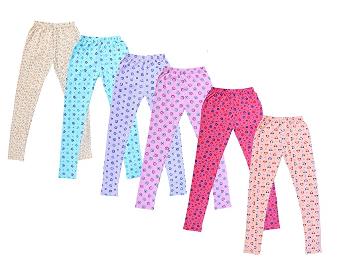 Indistar Little Girls Cotton Full Ankle Length Solid Leggings Pack of 6 -Multiple Colors-1-3 Years