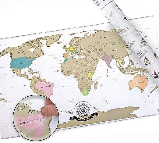 Scrape Off World Map Xxl Weltkarte Zum Rubbeln Rubbel