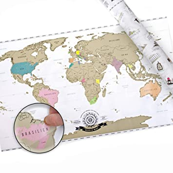 Amazon.de: Scrape Off World Map XXL - Weltkarte zum Rubbeln - Rubbel ...
