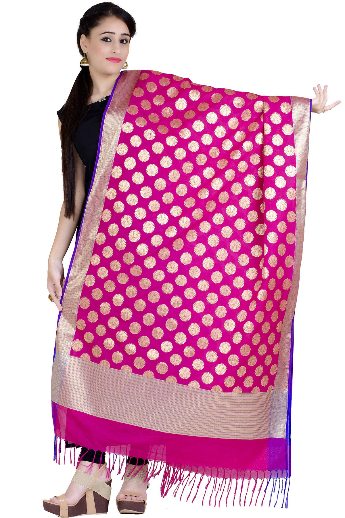 Chandrakala Women's Kataan Silk Blend Cutwork Brocade Banarasi Dupatta (Magenta)