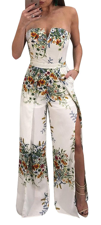64b1a6b76e9d Amazon.com  Antique Style Womens Summer Printing Split Wide Leg Romper  Jumpsuit Party Club Boho Maxi Dress  Clothing