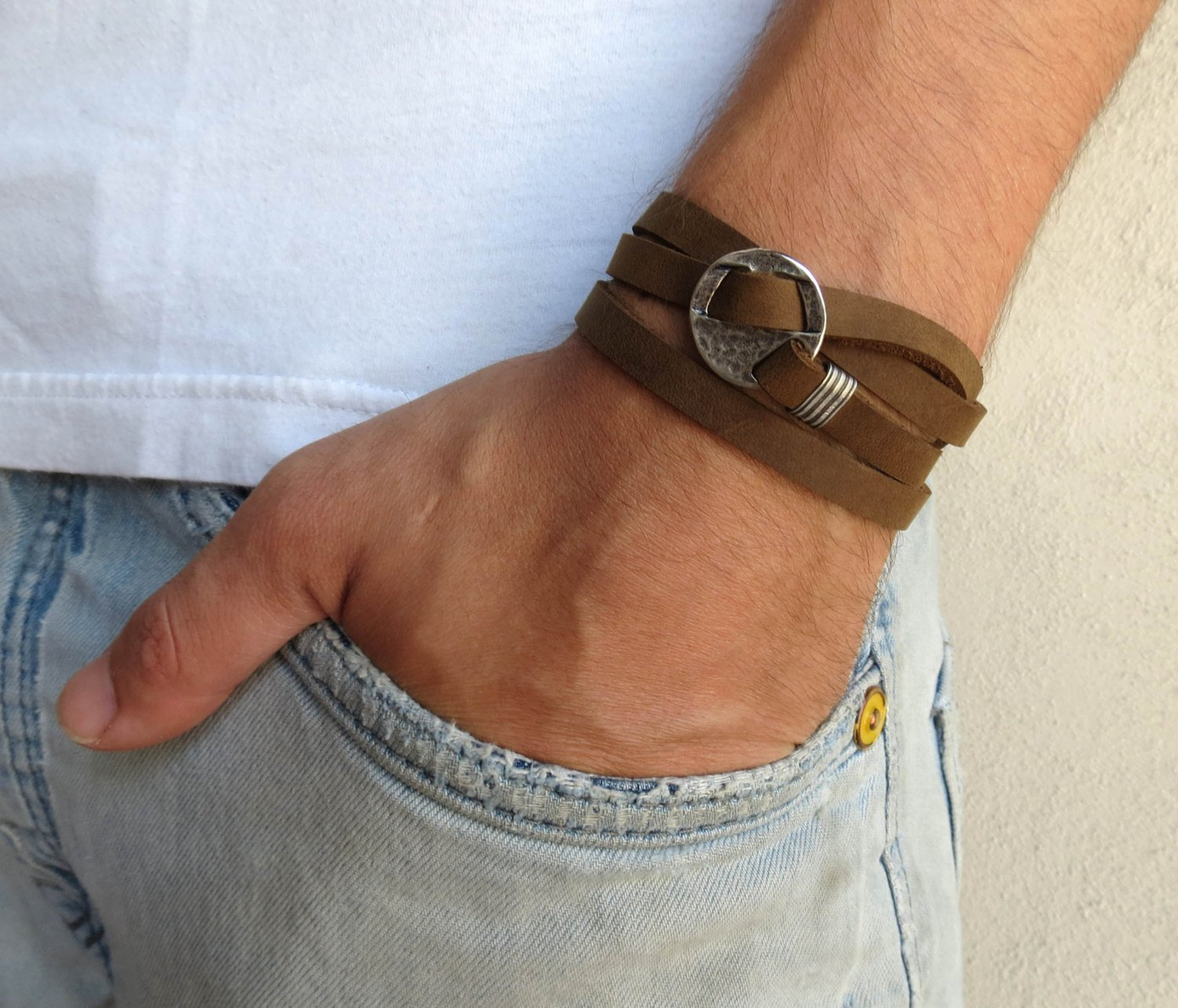 Handmade Wrap Brown Genuine Leather Bracelet For Men Set With Silver Plated Circle Pendant By Galis Jewelry - Geometric Bracelet For Men - Brown Bracelet For Men - Jewelry For Men