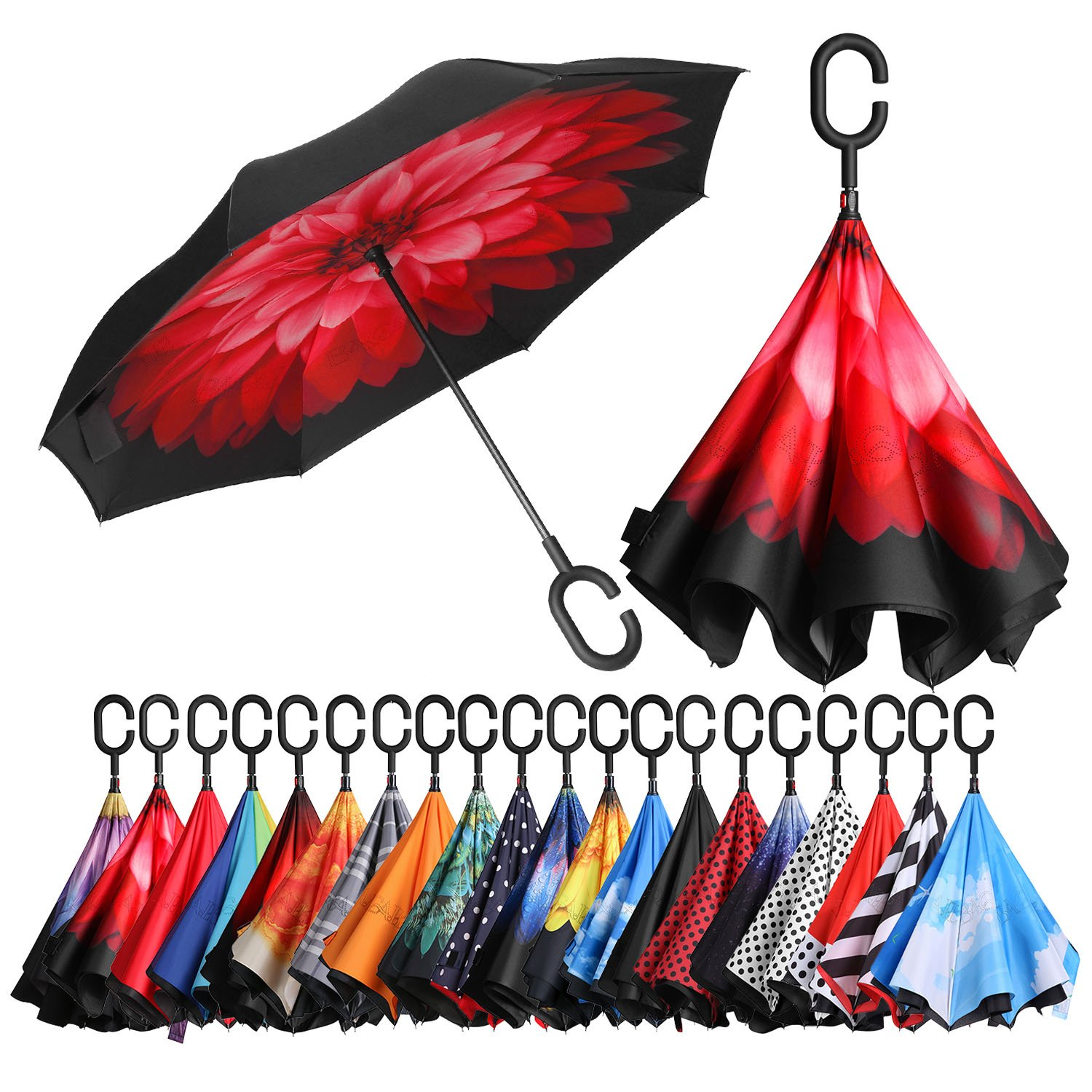 BAGAIL Double Layer Inverted Umbrellas Reverse Folding Umbrella Windproof UV Protection Big Straight Umbrella for Car Rain Outdoor with C-Shaped Handle U002-black dot