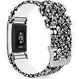MoKo Fitbit Charge 2 Accesorios - [Rombo Serie] Correa Reemplazo de Silicona Suave Deportiva para Fitbit Charge 2 Pulsera de actividad física y ritmo cardiaco, Fits 145mm-210mm, Calavera