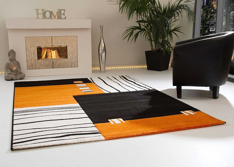 Designer Teppich Modern Ancona Felder Design in Orange Kurzflor, Größe  240x290 cm
