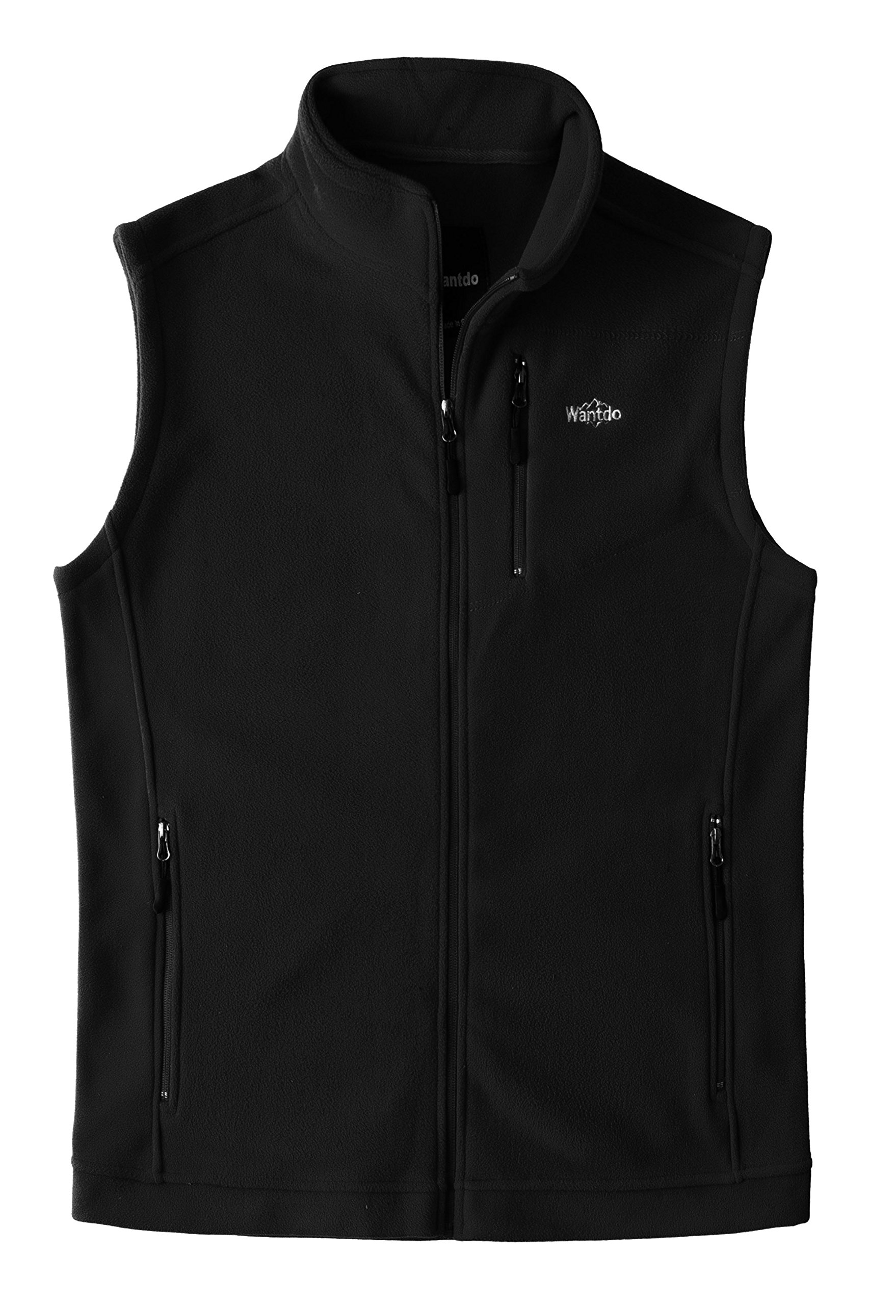 Wantdo Men's Outdoor Full Zipper Fleece Vest Black M by Wantdo