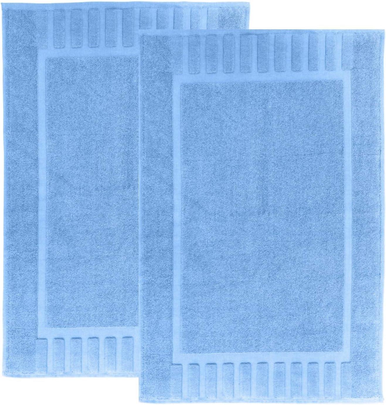 "White Classic Luxury Bath Mat Floor Towel Set - Absorbent Cotton Hotel Spa Shower/Bathtub Mats [Not a Bathroom Rug] 22""x34"" | 2 Pack | Light Blue"