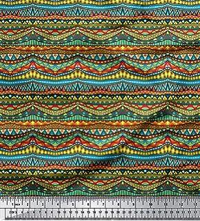 Soimoi India rayón Viscosa Tela 58 Pulgadas de Ancho Estampado Tribal Material de Costura