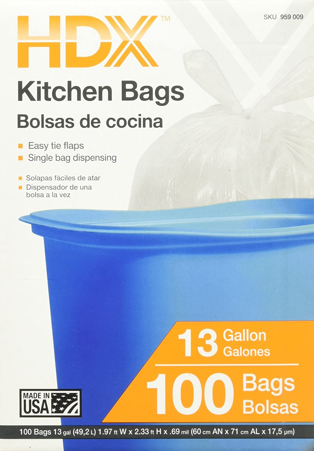 Amazon.com: 13 gal. Kitchen Trash Bags with Flap Tie (100 ...