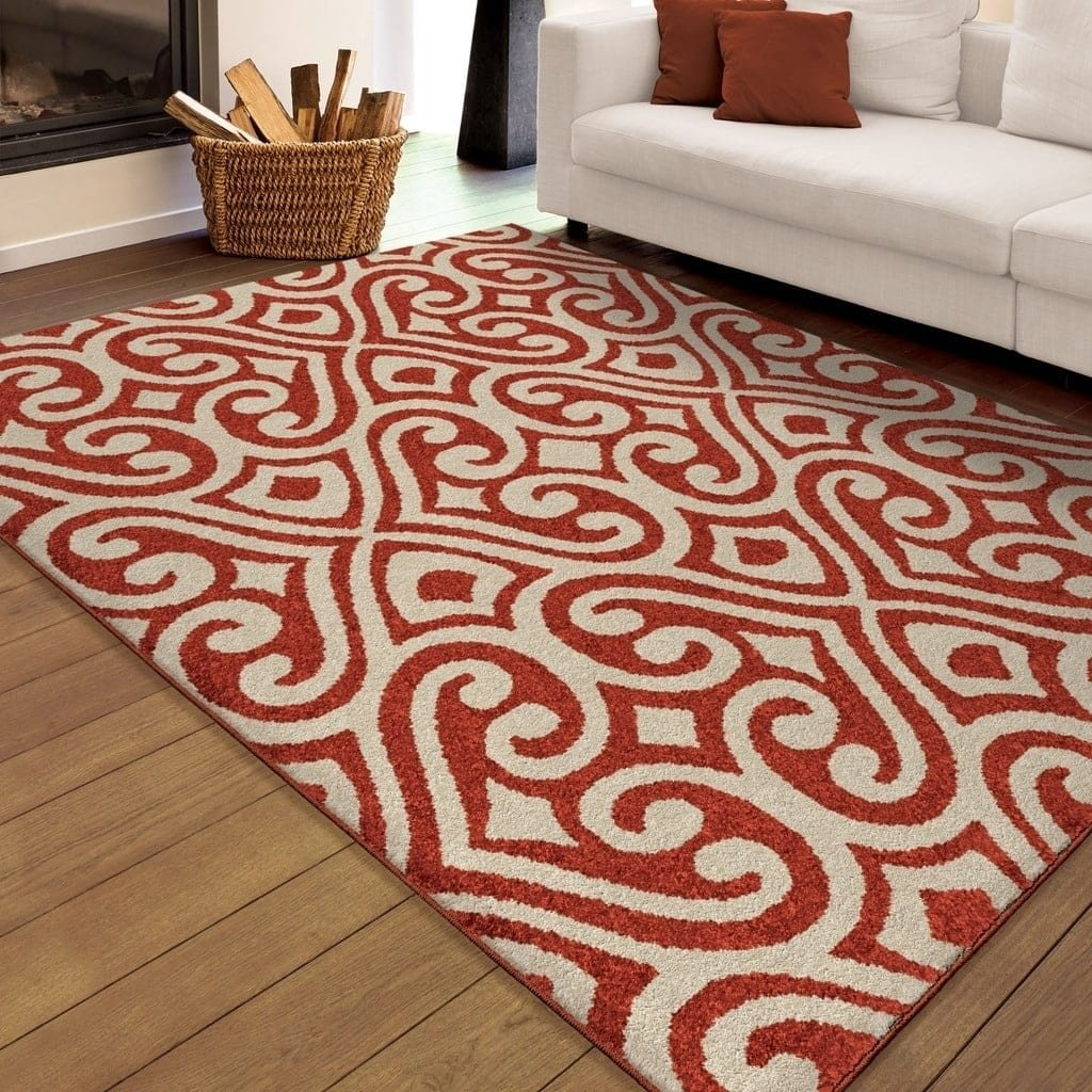 Area Rugs, Outdoor Decor, Area Rugs 5 x 8, Outdoor Area Rugs, Contemporary Area Rugs, 5' x 8' Indoor/Outdoor Damask Elloree Red Area Rug