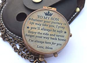 RIRHTAJUS Mom to Son Compass – to My Son Love Mom – Mother to Son Gifts - Graduation Day Gifts for Son - Son Birthday Gifts - Confirmation Gifts for Son