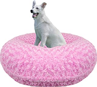 product image for Bessie and Barnie Signature Cotton Candy Extra Plush Faux Fur Bagel Pet / Dog Bed (Multiple Sizes)