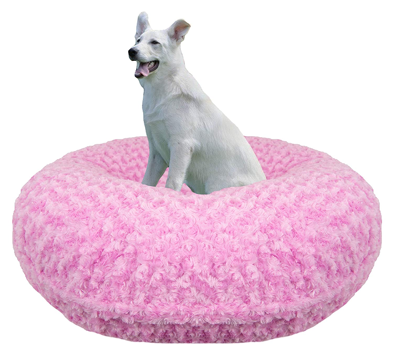 Bessie and Barnie Signature Cotton Candy Extra Plush Faux Fur Bagel Pet Dog Bed Multiple Sizes
