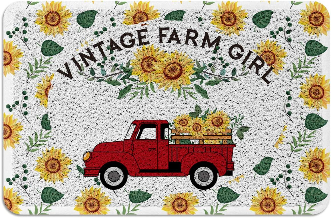 Vintage Farm Girl Farmhouse Fall Red Truck with Sunflowers Doormat PVC Rubber Backing Area Rugs Floor Mats Non Slip Carpet for Front Door Indoor Outdoor Fall 18X30 Inch