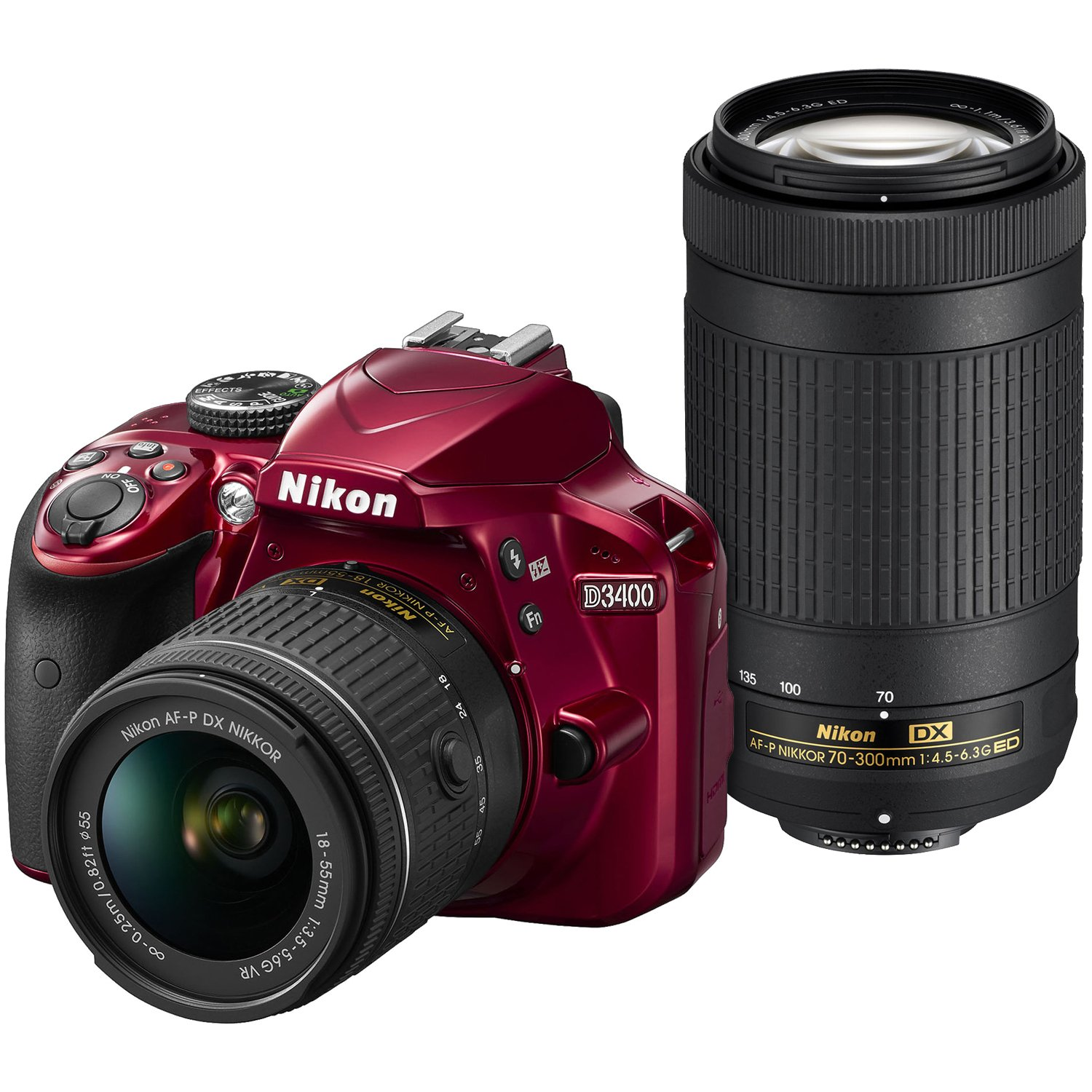 Nikon D3400 Digital SLR Camera & 18-55mm VR & 70-300mm DX AF-P Lenses (Red) - (Certified Refurbished)