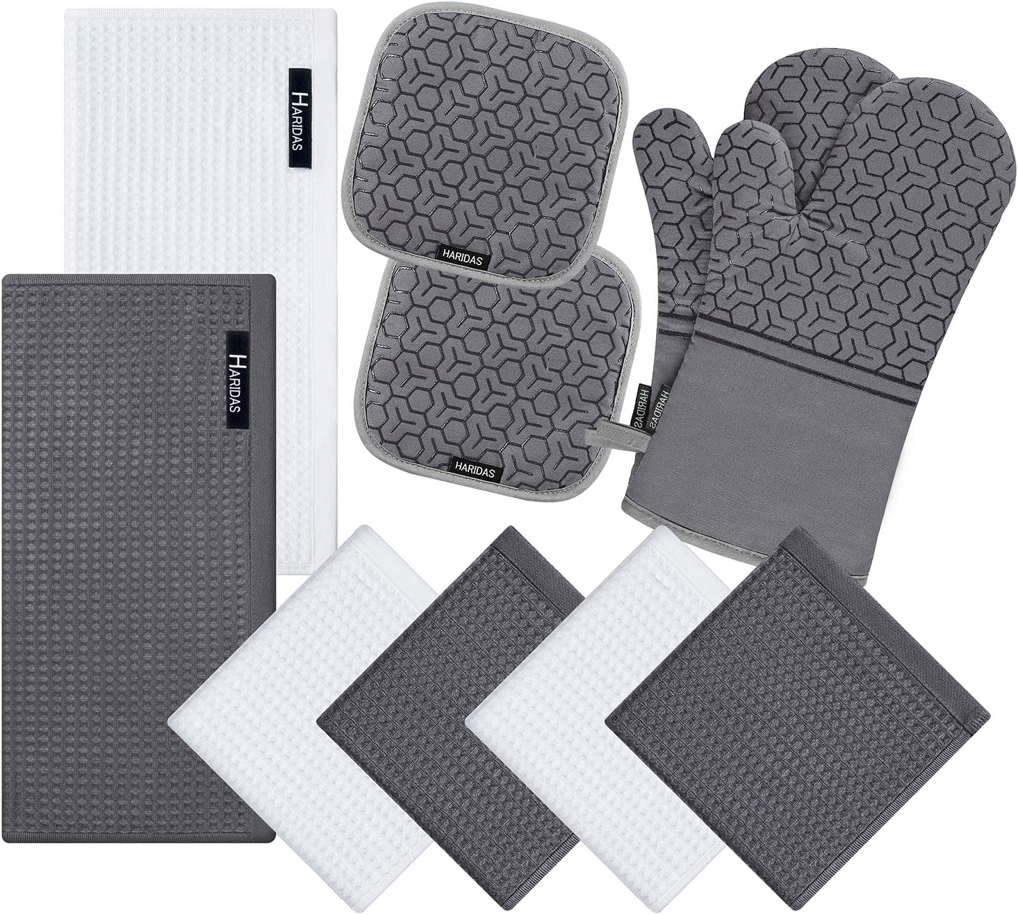 10 Piece Set Silicone Oven Mitts and Pot Holder,with Kitchen Towels and Dish Cloths ,500 Degree Heat Resistant Soft Lining Oven Mitts,Quick Drying Dish Towel,for Kitchen Baking BBQ Grilling (Grey)
