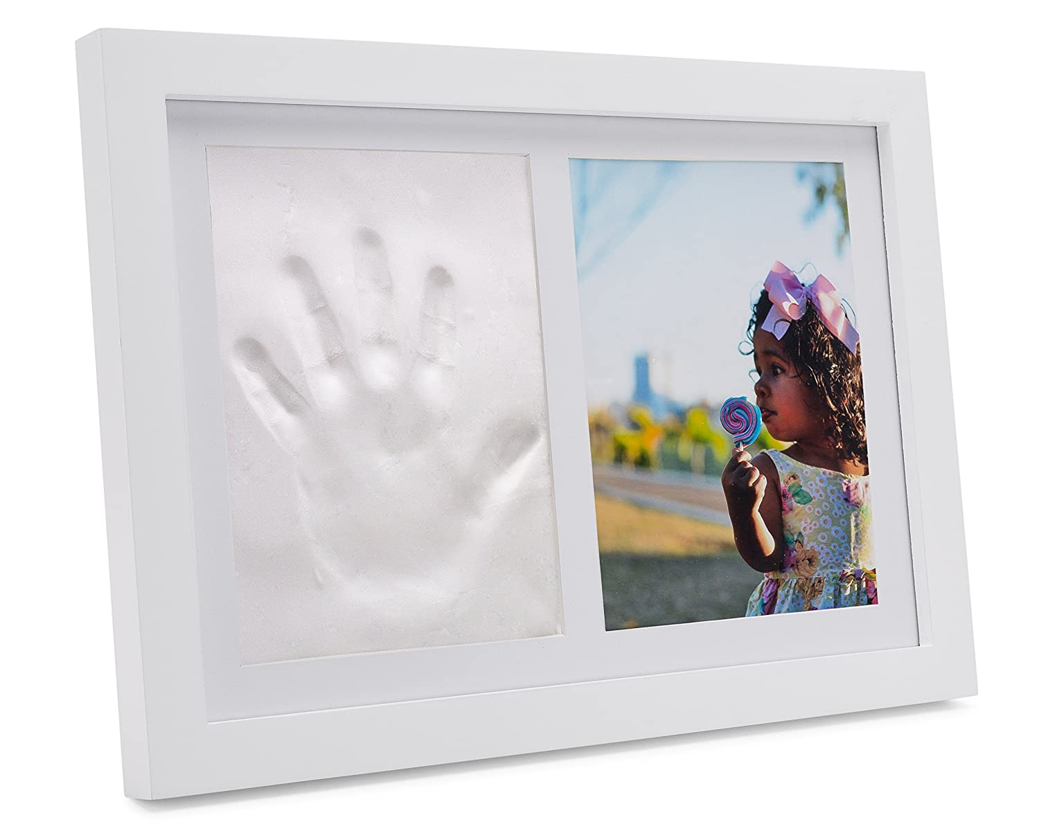 "BIG PHOTO Clay Handprint Footprint Photo Frame Keepsake Kit for Babies, Kids and Pets – Baby Shower and Registry Gift | 5x7"" Photo, Mold-Free Clay and Expert Instructions – Mantle, Nursery or Wall No 8 Wire Provisions Inc."