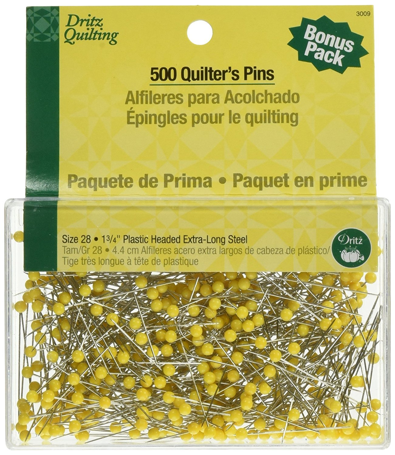 Dritz Size 1-3/4-Inch Quilting Quilter's Pins, 500-Pack (2 Pack)