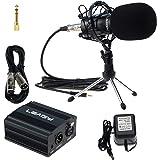 LEAGY L-58 Home Recording Sound Studio Dynamic Mic, Pro Audio Condenser Microphone Studio Pickup Recording MIC w/ Shockmount, 48V Phantom Power Supply, XLR 3 Pin Microphone Cable, Mini Desktop Tripod