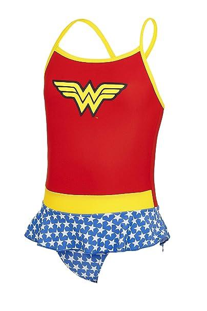 Zoggs Bañador para niñas Wonder Woman Swimdress Bañador