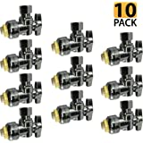 """PROCURU PushFit Angle Stop Valve 1/2"""" Nom x 3/8"""" OD Compression, Quarter-Turn ON/Off for Bathroom Fixtures - Faucet, Toilet Supply Shut-Off - Lead Free Certified (10-Pack)"""