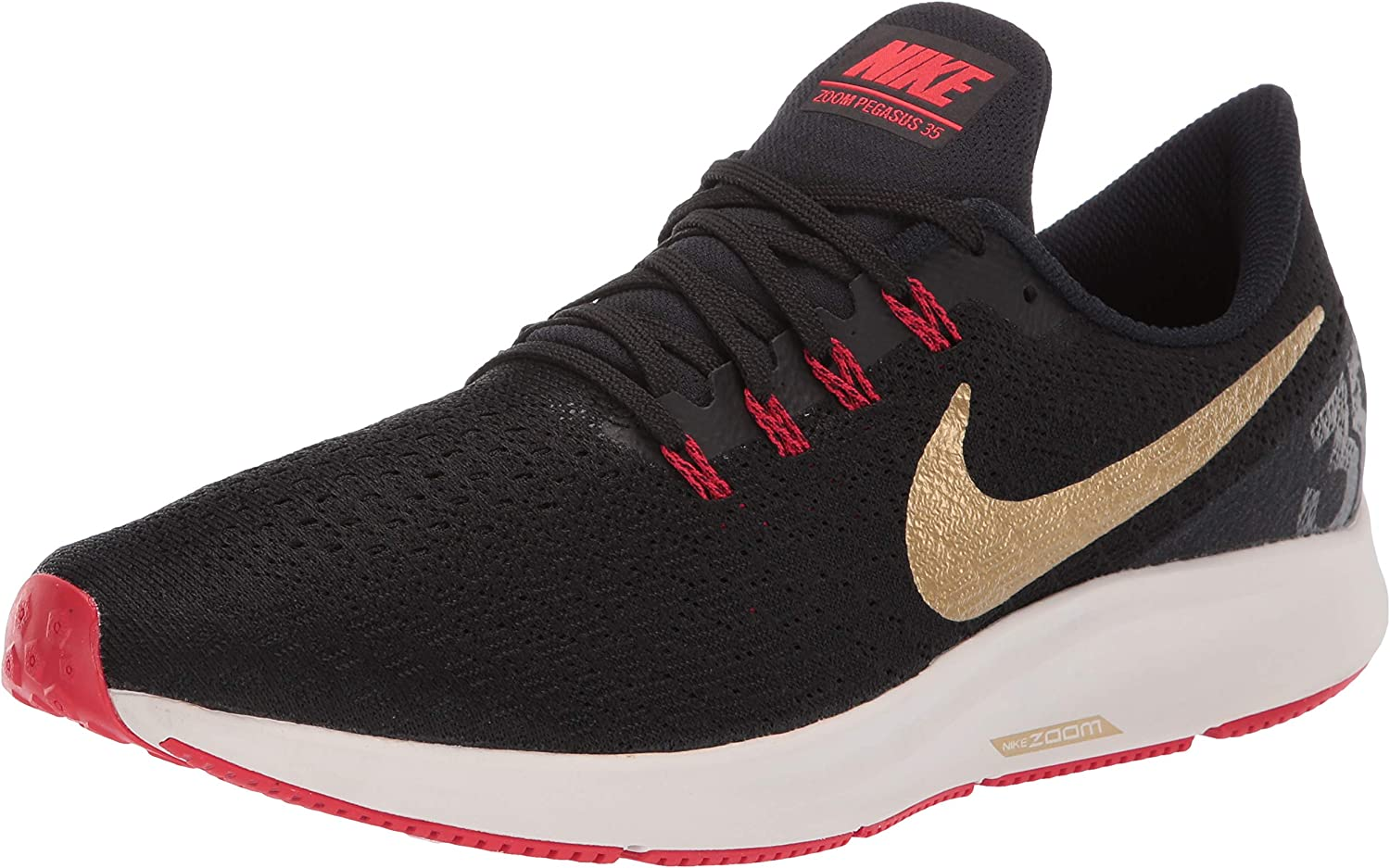 Nike Air Zoom Pegasus 35 Sz 11 Mens Running Black Metallic Gold-University Red Shoes