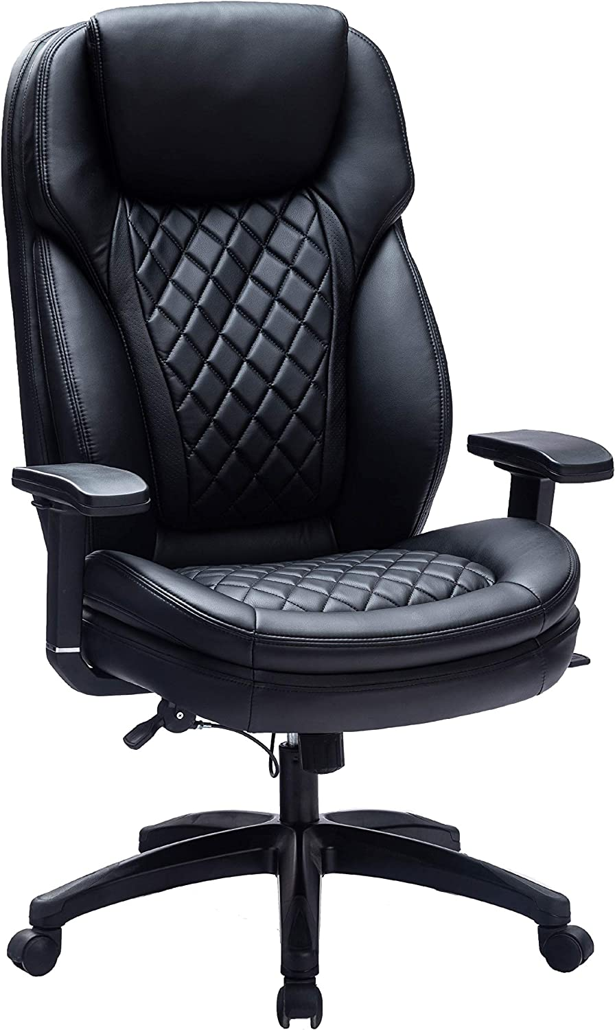 High Back Executive Office Chair Big and Tall Ergonomic Computer Desk Chair with Adjustable Swivel Executive Chair - Bonded Leather Chair with Build-in Headrest for Adults (Black-9107)