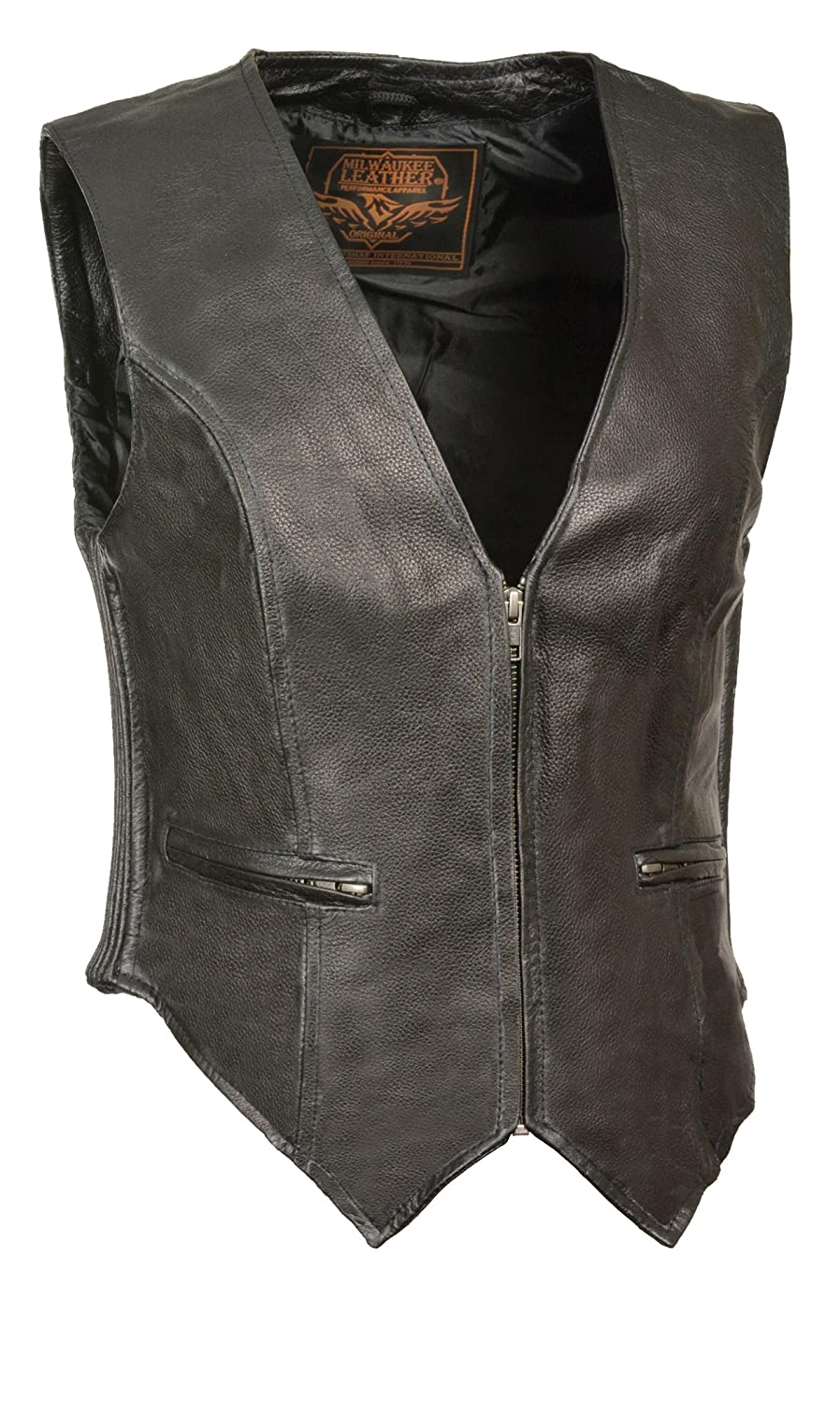 Milwaukee Leather Womens Classic Four Snap Vest Black, Small