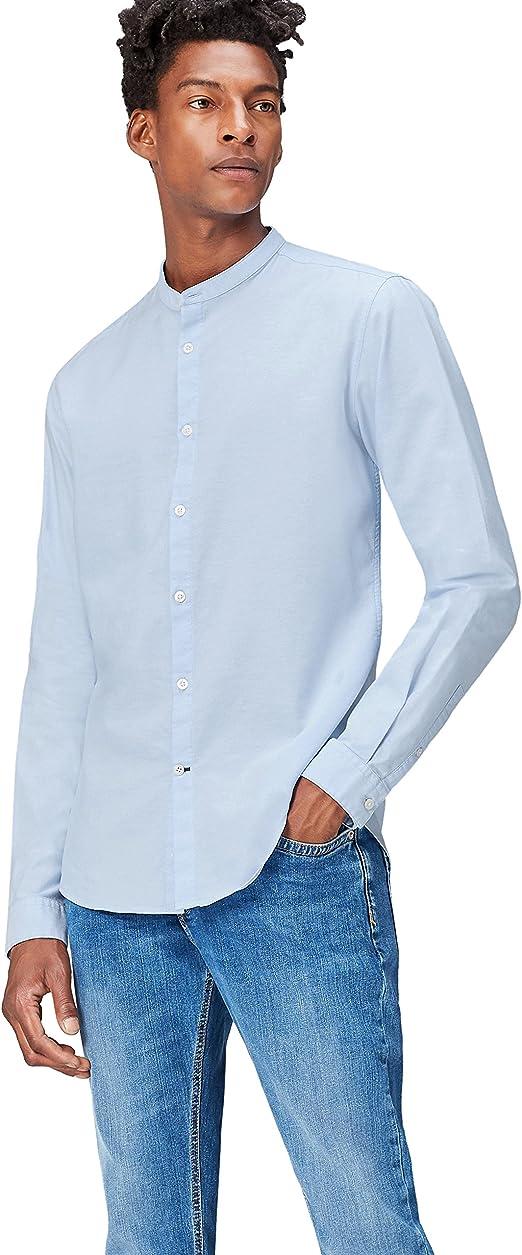 find. Camisa Cuello Mao para Hombre, Azul (Blue), Small: Amazon.es: Ropa y accesorios