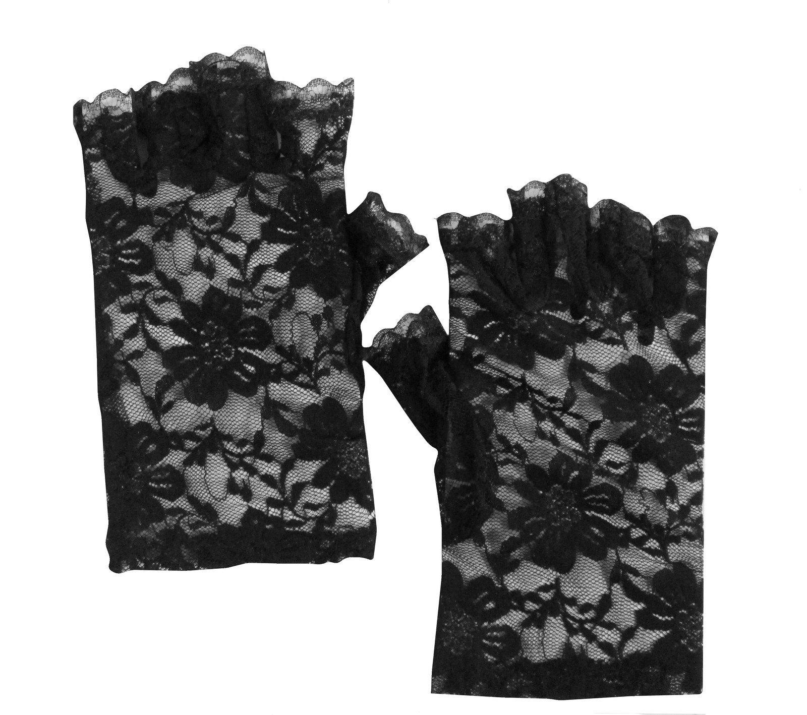 Black Floral Lace Fingerless Short Gloves