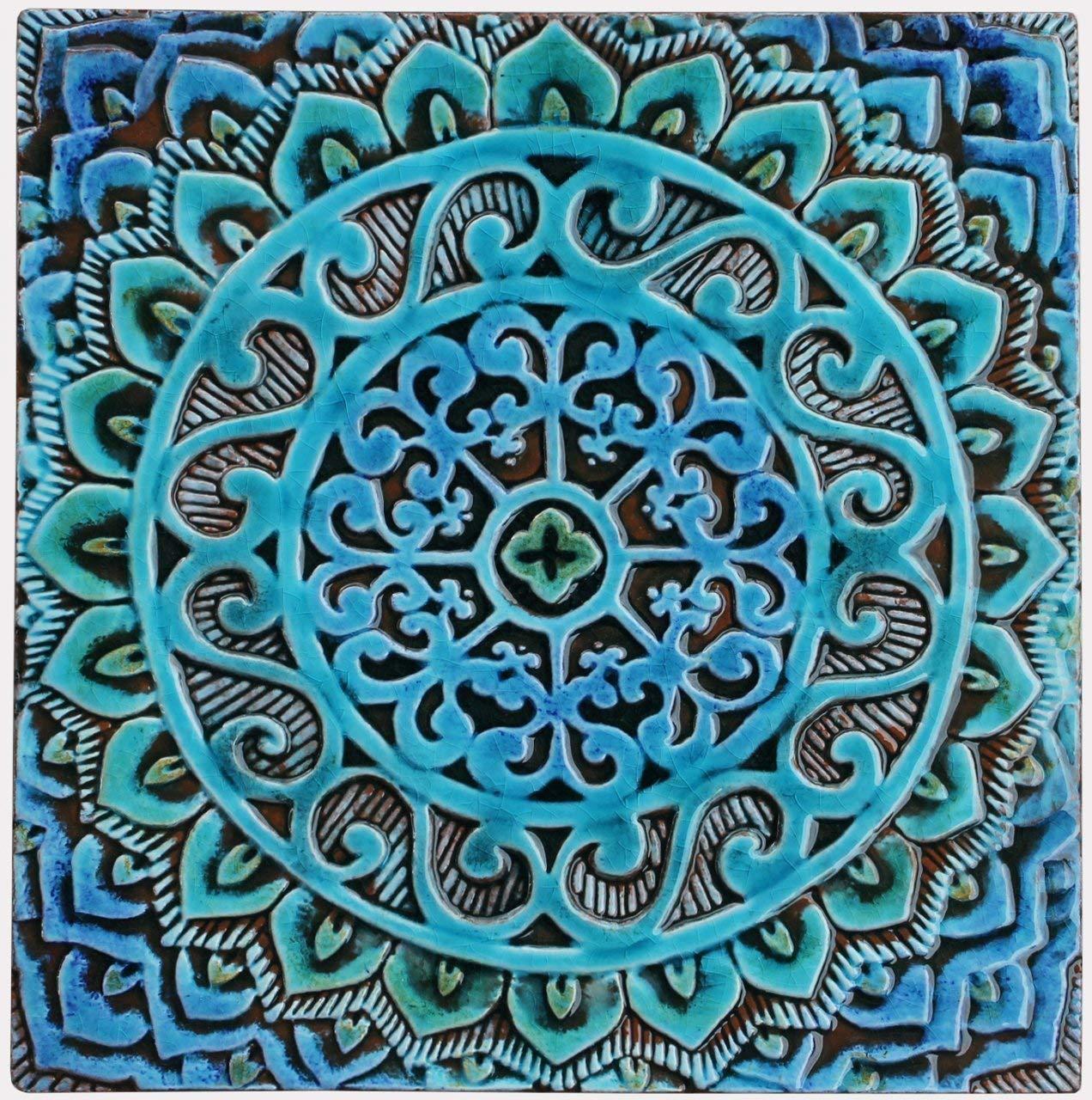 Amazon Com 30cm Ceramic Tile Decorative Tile In Blues And Greens