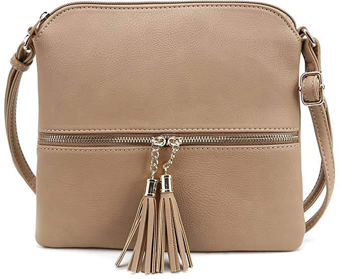 013b9bcd0677 Image Unavailable. Image not available for. Color  Tassel Accent Medium  Crossbody Bag Taupe