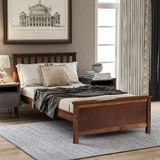 Amazon Com Twin Bed Frame Wood Platform Bed With Headboard And