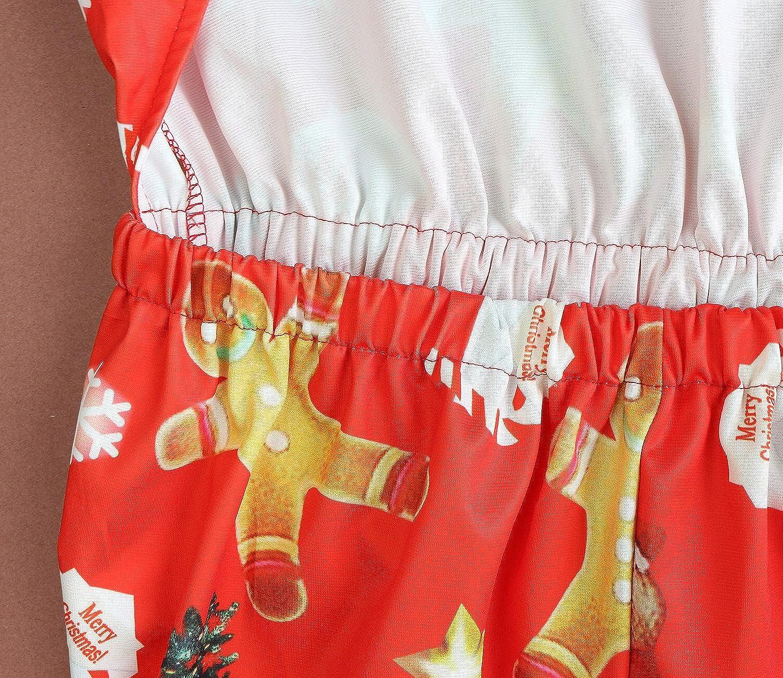 FANCYINN Donne Natale Accostare Flared A-Line Vestito Babbo Natale Stampare Regalo di Festa
