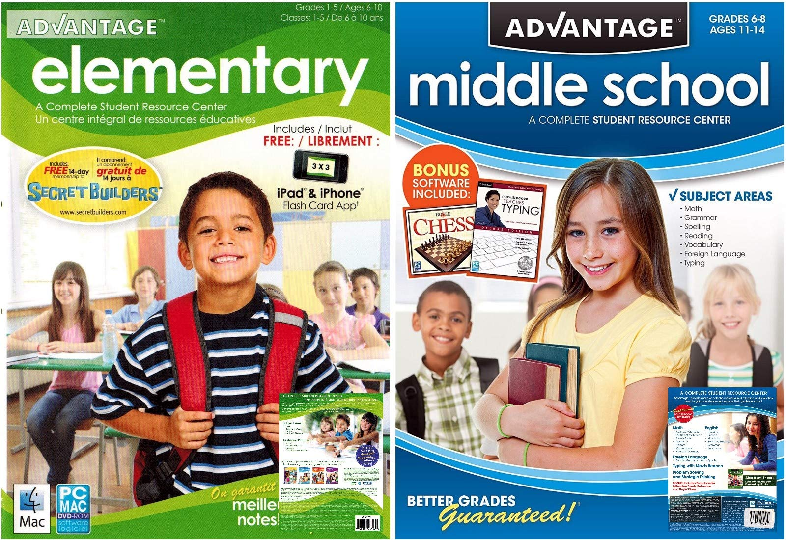 Advantage Elementary / Middle School Student Resource Centers - Grade School Learning Software Bundle by Encore Software