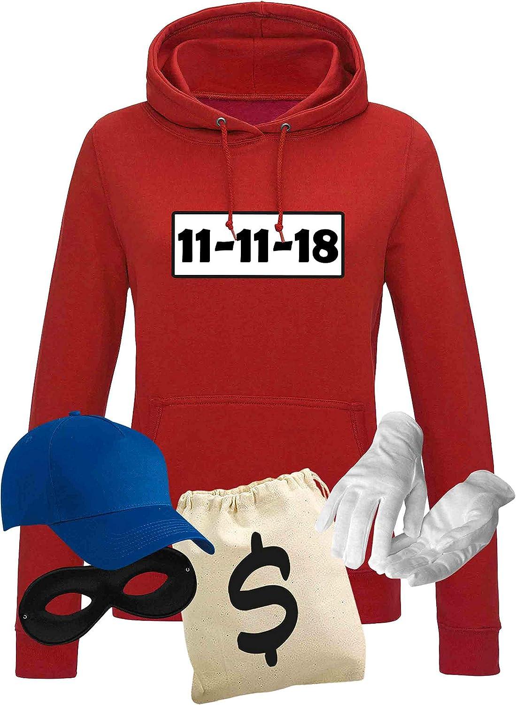 Kost/üm-Set Wunschnummer Karneval JGA XS 2XL Fasching JGA Party Sitzung Jimmys Textilfactory Hoodie Panzerknacker Damen Deluxe
