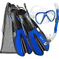 Mares Marlin Mask Fin Snorkel Set with Shoulder Carry Bag, Blue, Small/Medium (3.5-6)