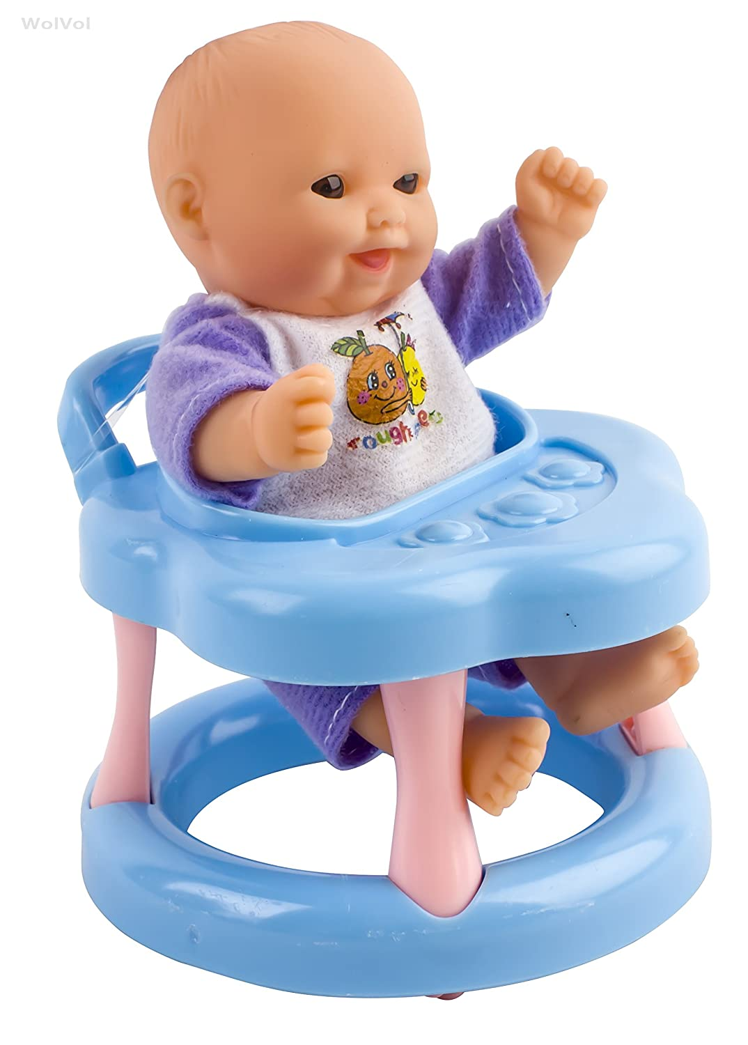 WolVol Set of 6 Mini Dolls for Girls with Cradle, High Chair, Walker ...