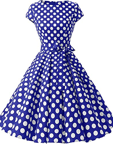 huini Polka Dots sukienka damska vintage 50er retro Rockabilly Sukienka Swing krÓtki rękaw okrągłe wycięcie pod szyją sukienka koktajlowa sukienka z paskiem: Odzież