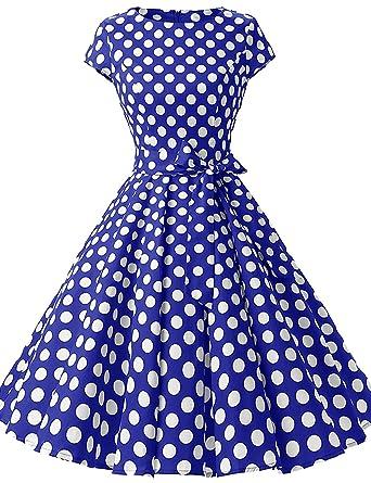 HUINI Vintage Kleid 50er Polka Dots Retro Swing Rockabilly Kleider  Cocktailkleider Partykleider Gürtel  Amazon.de  Bekleidung ae3ce8be7f