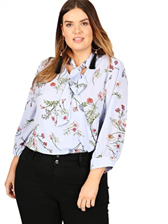 4c7022dd120 Lovedrobe GB Women s Plus Size Blue Floral Print Cross Over Pussy Bow Blouse  ...
