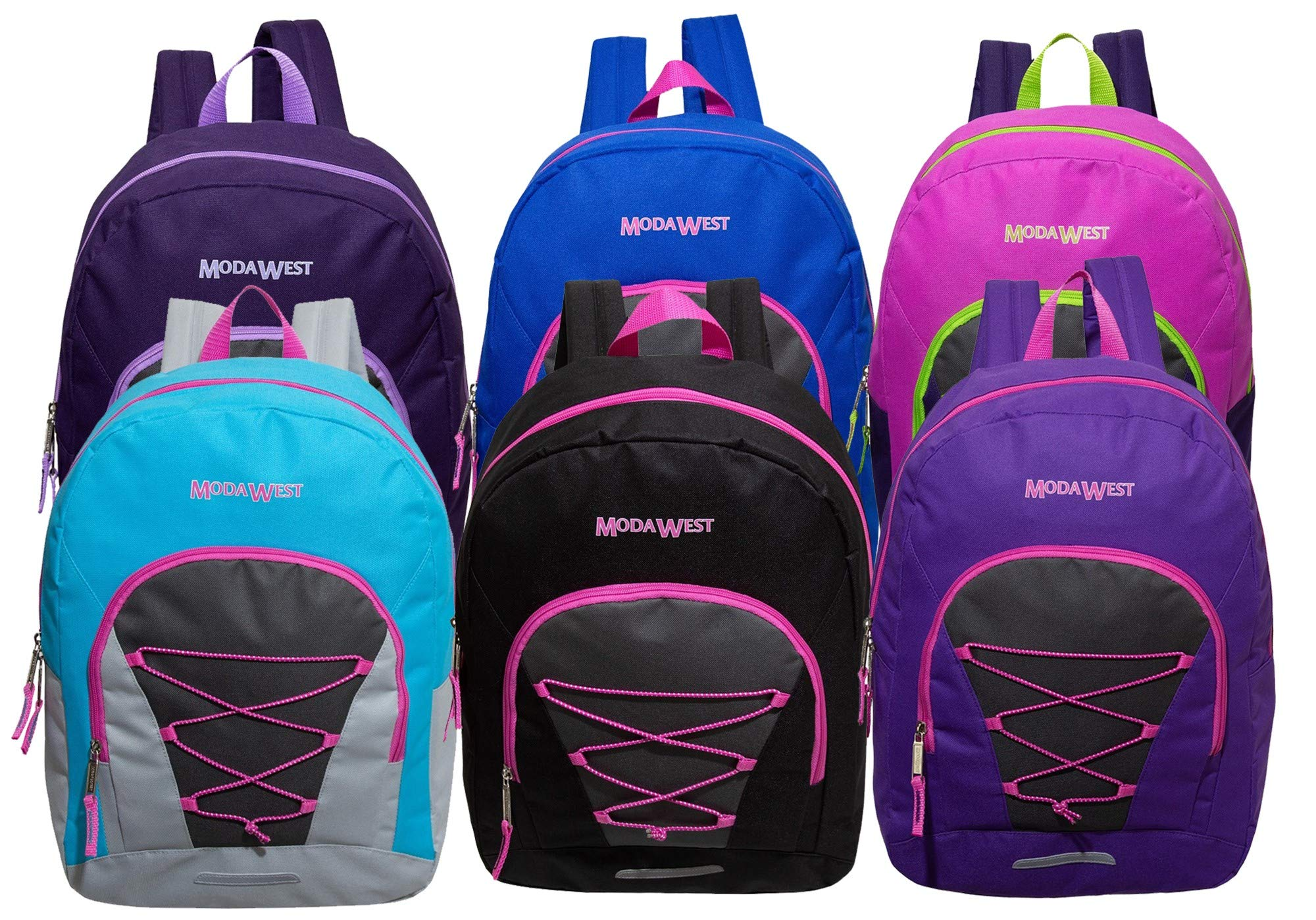 17 Inch Classic Wholesale Bungee Backpacks in Assorted Colors - Bulk Case of 24 Bookbags by Moda West