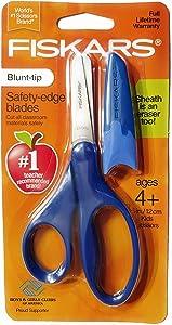 Fiskars Scissors Blunt-tip Safety-Edge Blades w/ Sheath (Navy Blue)
