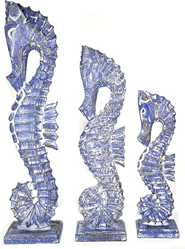 Nautical Set of 3 Seahorses Wooden Wall Art Decor 20 Tall