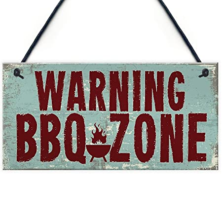 MiMiTee Warning BBQ Zone Cartel de Madera Estilo Vintage ...