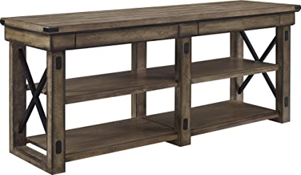 Ameriwood Home Wildwood Wood Veneer Tv Stand For Tvs Up To 65 Wide Rustic Gray