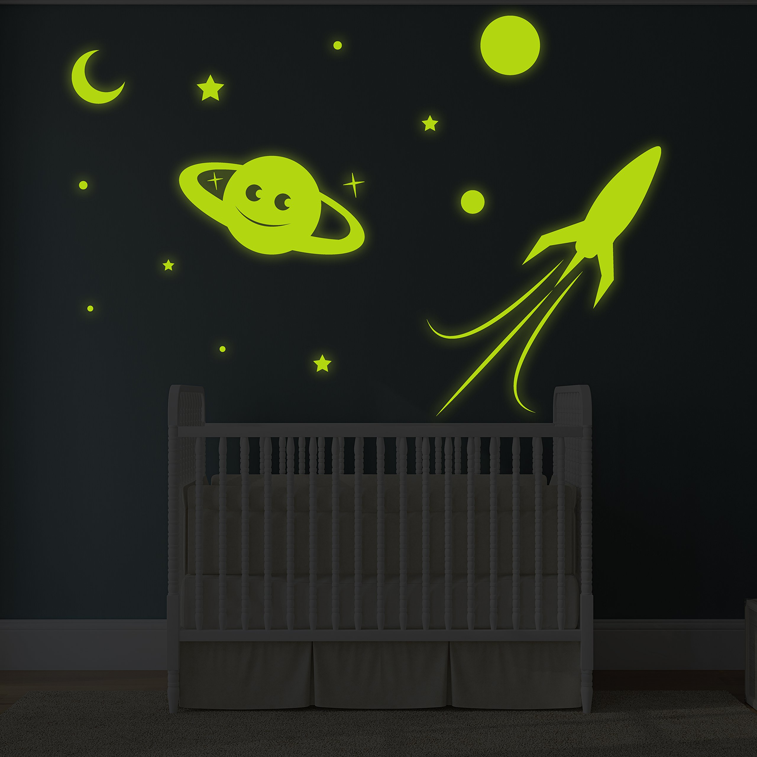 ( 63'' x 43'' ) Glowing Vinyl Wall Decal Planet, Rocket, Stars / Glow in the Dark Sticker / Сrescent Luminescent Mural Kids, Baby Room + Free Decal Gift!