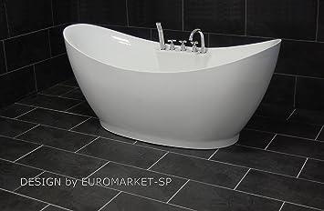 Freistehende Badewanne BW-6514 - komplett anschlussfertig inkl ... | {Badewannen armaturen freistehend 33}