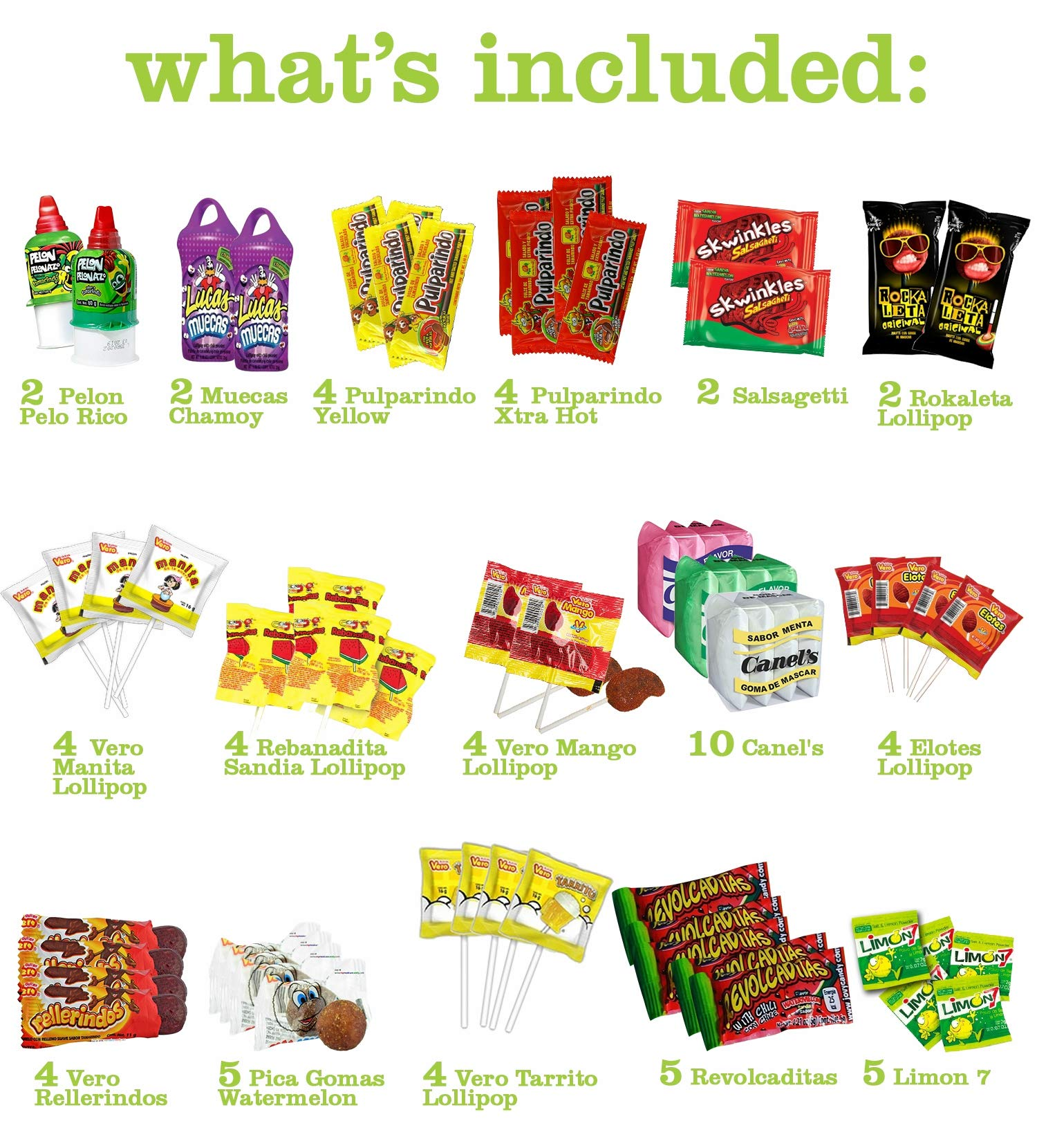 Mexican Candy Assortment Snacks (64 Count), Variety Of Spicy, Sweet, Sour Bulk Candies Dulces Mexicanos, Includes Lucas Candy, Pelon, Vero Lollipop, Pulparindo Makes A Great Gift By MTC. by MTC (Image #2)